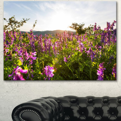 Designart Amazing Summer Pasture With Flowers Floral Canvas Art Print
