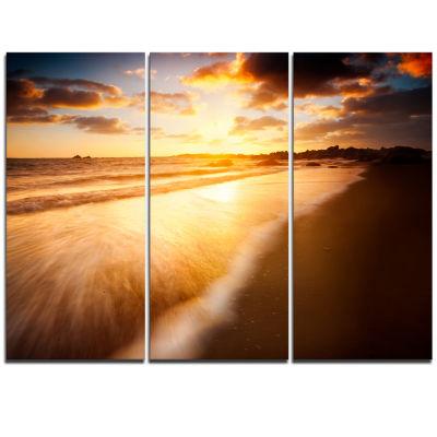Designart Amazing Sunrise Over Australian Beach Seashore Triptych Canvas Art Print