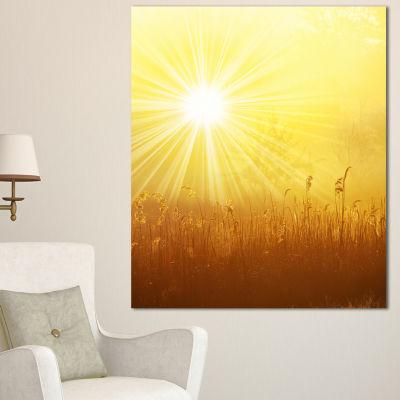 Designart Amazing Sunrise Over Meadow Oversized Landscape Canvas Art - 3 Panels