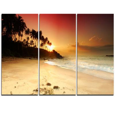 Designart Amazing Sunset And Beach In Sri Lanka Modern Seashore Triptych Canvas Art