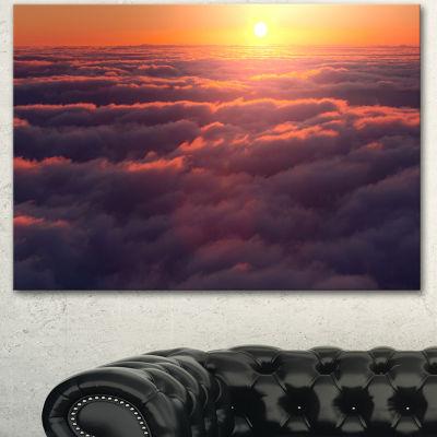 Designart Amazing Sunset View Over Clouds Landscape Canvas Art Print - 3 Panels