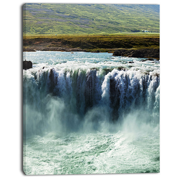 Designart Amazing Waterfalls In Iceland OversizedLandscape Canvas Art