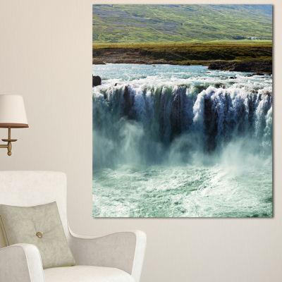 Designart Amazing Waterfalls In Iceland OversizedLandscape Canvas Art - 3 Panels