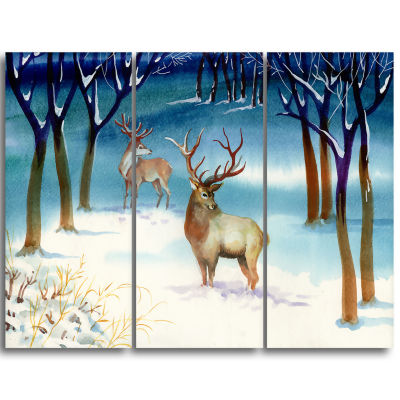 Designart Amazing Winter Forest With Deer Landscape Triptych Canvas Art Print