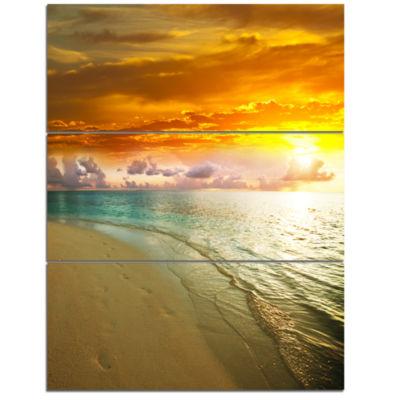 Designart Amazingly Colorful Beach With FootprintsSeascape Triptych Canvas Art Print
