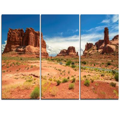 Designart American Road In Arches National Park Landscape Artwork Triptych Canvas