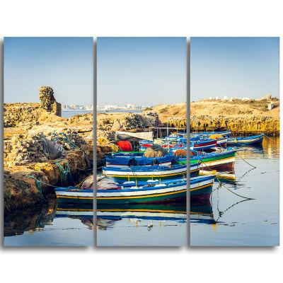 Designart Ancient Phoenician Port Africa LandscapeTriptych Canvas Art Print