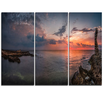 Designart Ancient Ruins And Beach Panorama Oversized Beach Triptych Canvas Artwork