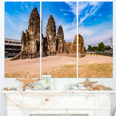 Designart Ancient Temple In Thailand Panorama Modern Seascape Triptych Canvas Artwork