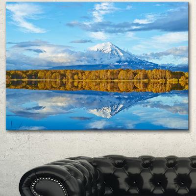Designart Ancient Volcano And Lake Panorama Landscape Canvas Wall Art