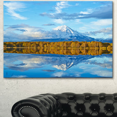 Designart Ancient Volcano And Lake Panorama Landscape Canvas Wall Art - 3 Panels