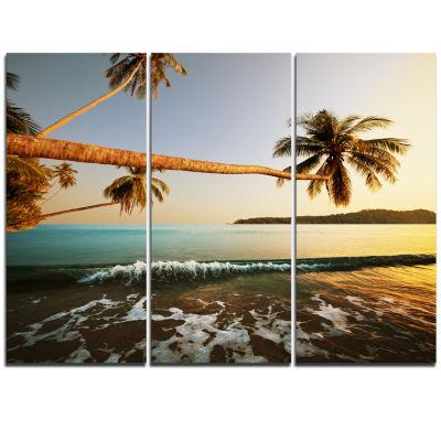 Designart Andaman Sea Large Coconut Palms Large Seashore Triptych Canvas Print