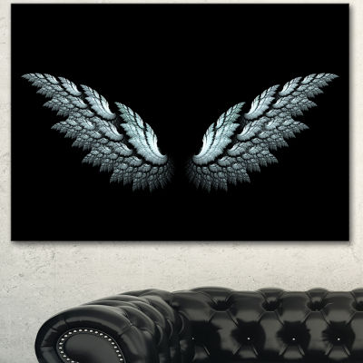 Designart Angel Wings On Black Background AbstractCanvas Art Print