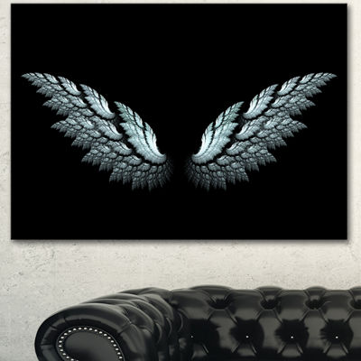Designart Angel Wings On Black Background AbstractCanvas Art Print - 3 Panels