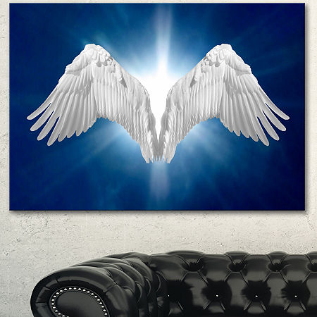 Designart Angel Wings On Blue Background AbstractCanvas Art Print, One Size , Blue