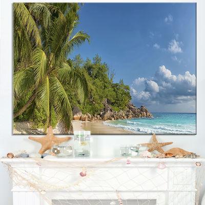 Designart Anse Georgette Beach Dark Blue Large Seascape Art Canvas Print