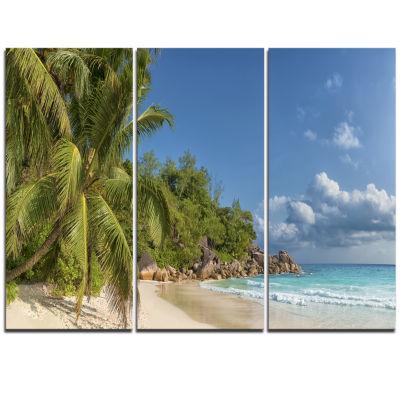 Designart Anse Georgette Beach Dark Blue Large Seascape Art Triptych Canvas Print
