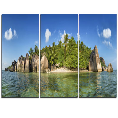 Designart Anse Lazio Beach Seychelles Panorama Large Seashore Triptych Canvas Print