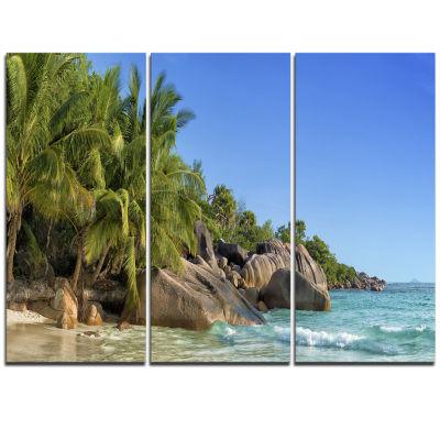 Designart Anse Lazio Praslin Island Seychelles Large Seashore Triptych Canvas Print