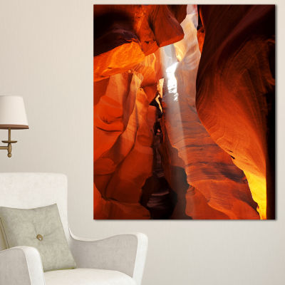 Designart Antelope Canyon In Sunlight Rays Oversized African Landscape Canvas Art