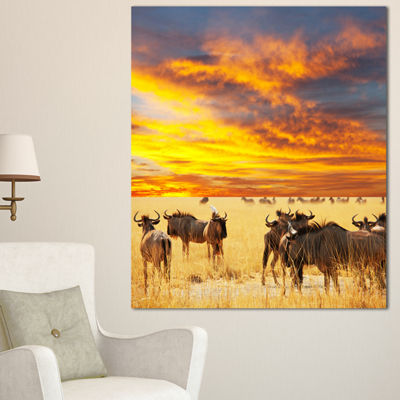 Designart Antelope Crowd At Sunset African CanvasArt Print - 3 Panels