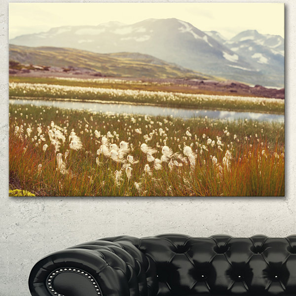 Designart Arctic Cotton Flowers Meadow Large Flower Canvas Wall Art - 3 Panels