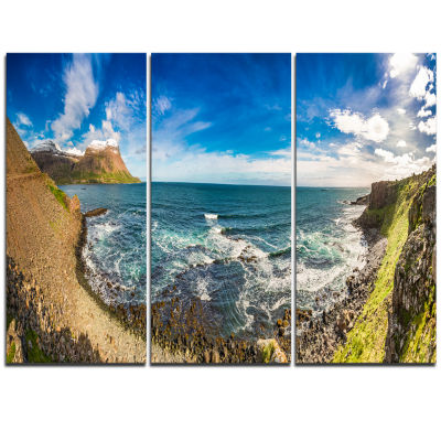Designart Arctic Sea And Coastline Panoramic ViewLandscape Triptych Canvas Art Print