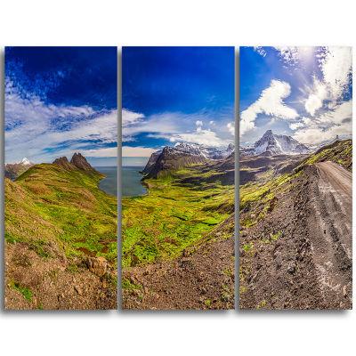Designart Arctic Sea And Green Mountains LandscapePrint Wall Artwork