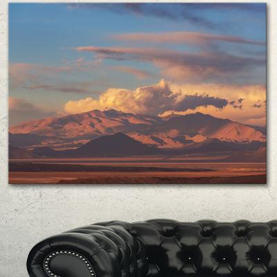 Designart Argentina Mountains With Clouds AfricanLandscape Canvas Art Print - 3 Panels