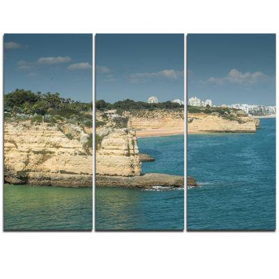 Designart Armacao De Pera Algarve Beach Seascape Triptych Canvas Art Print