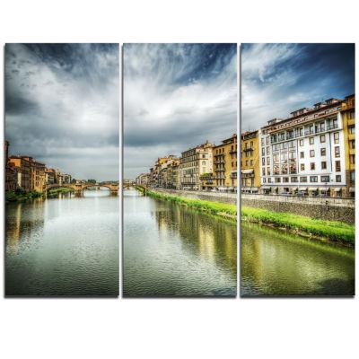 Designart Arno River Under Dramatic Sky CityscapeTriptych Canvas Print