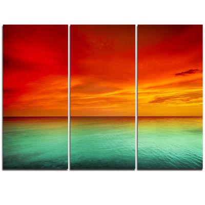 Designart Artist Blue Red Sunset Modern Seashore Triptych Canvas Art