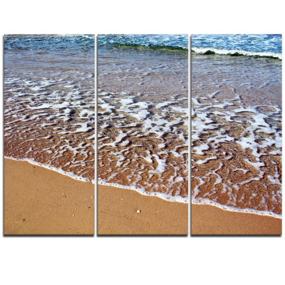 Designart Ashdod Israel Clear Seashore Modern Beach Triptych Canvas Art Print