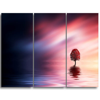 Designart Astonishing Lonely Tree With Birds ExtraLarge Wall Art Landscape