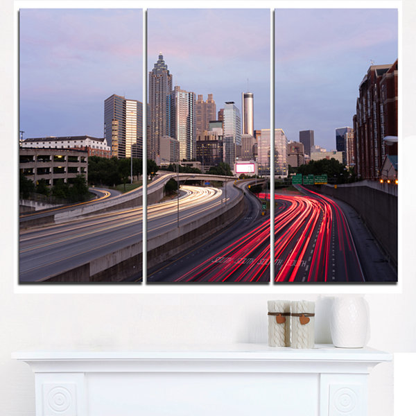 Designart Atlanta Georgia Rush Hour Traffic At Dusk Cityscape Triptych Canvas Print