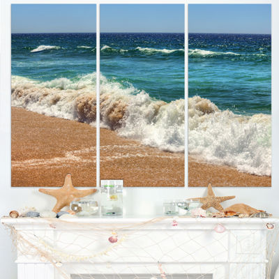 Designart Atlantic Beach With Foaming Waves ExtraLarge Seascape Art Triptych Canvas