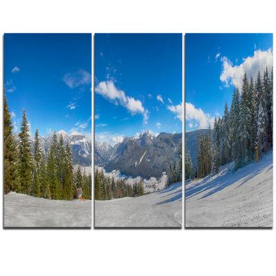 Designart Austrian Alps Seen From Ski Slope Landscape Triptych Canvas Art Print