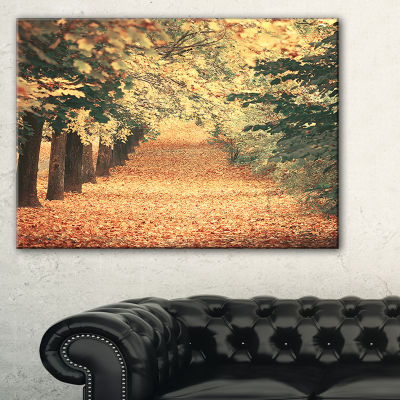 Designart Autumn Forest With Walking Path Modern Forest Canvas Wall Art
