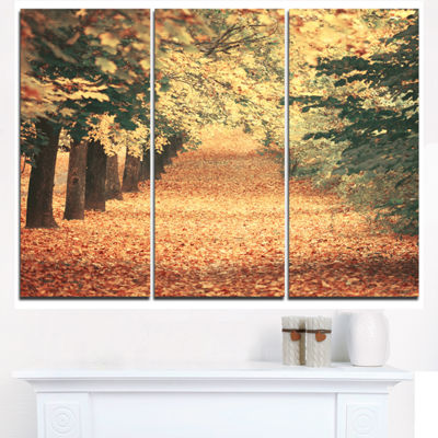 Designart Autumn Forest With Walking Path Modern Forest Triptych Canvas Wall Art