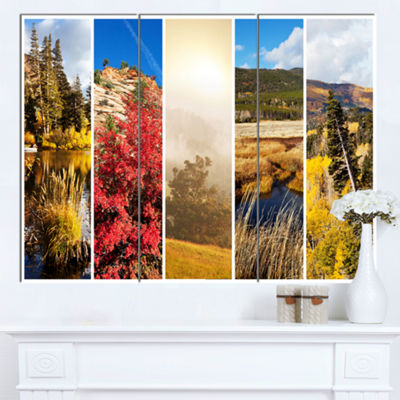 Designart Autumn In Sierra Nevade Collage Oversized Landscape Canvas Art - 3 Panels
