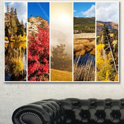 Designart Autumn In Sierra Nevade Collage Oversized Landscape Canvas Art - 3 Panels