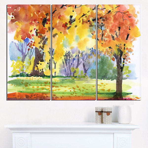 Designart Autumn Park Yellow Trees Watercolor Landscape Triptych Canvas Art Print