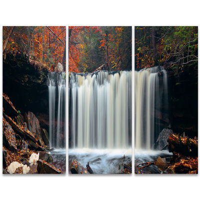 Designart Autumn Waterfall With Colorful Foliage Modern Landscape Wall Art Triptych Canvas