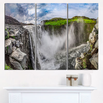 Designart Awesome Dettifoss Waterfall Landscape Print Wall Artwork