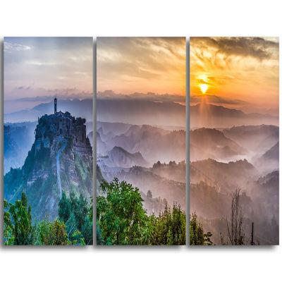 Designart Bagnoregio At Dusk Italy Panorama Landscape Triptych Canvas Art Print