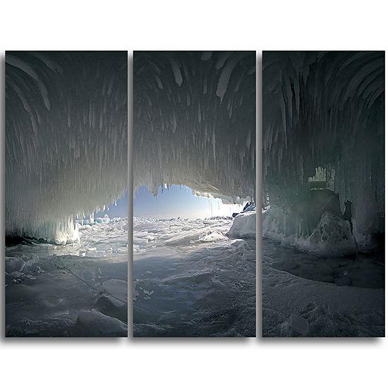 Designart Baikal Lake Ice Macro Universe LandscapeTriptych Canvas Art Print