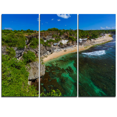 Designart Balangan Beach Bali Indonesia Seascape Triptych Canvas Art Print