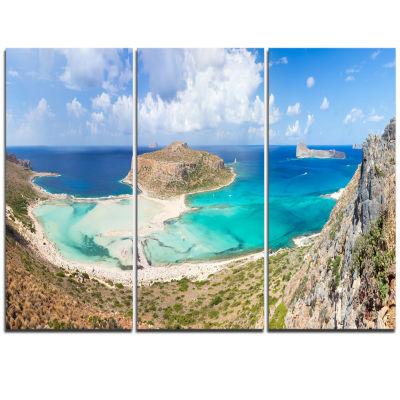 Designart Balos Beach At Crete Island Greece Oversized Beach Triptych Canvas Artwork