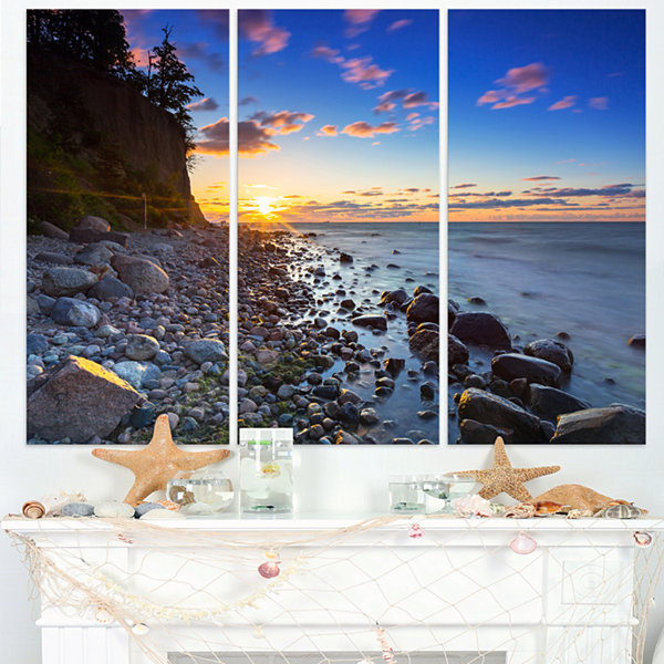 Designart Baltic Sea And Orlowo Cliff At Sunrise Seascape Triptych Canvas Art Print