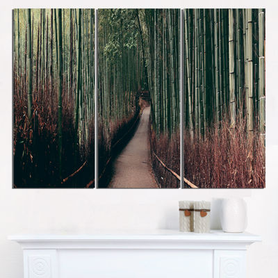Designart Bamboo Grove In Arashiyama Panorama Oversized Forest Triptych Canvas Art